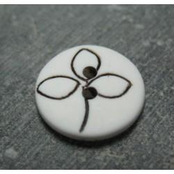 Bouton fleur trilobe blanc noir 15mm