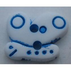 Bouton papillon blanc bleu 17mm