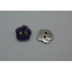 Bouton fleur base véritable argent émaillé violet 15mm