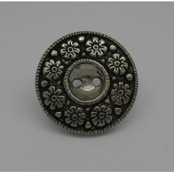 Bouton métallisé 8 fleurs vieil argent 23mm