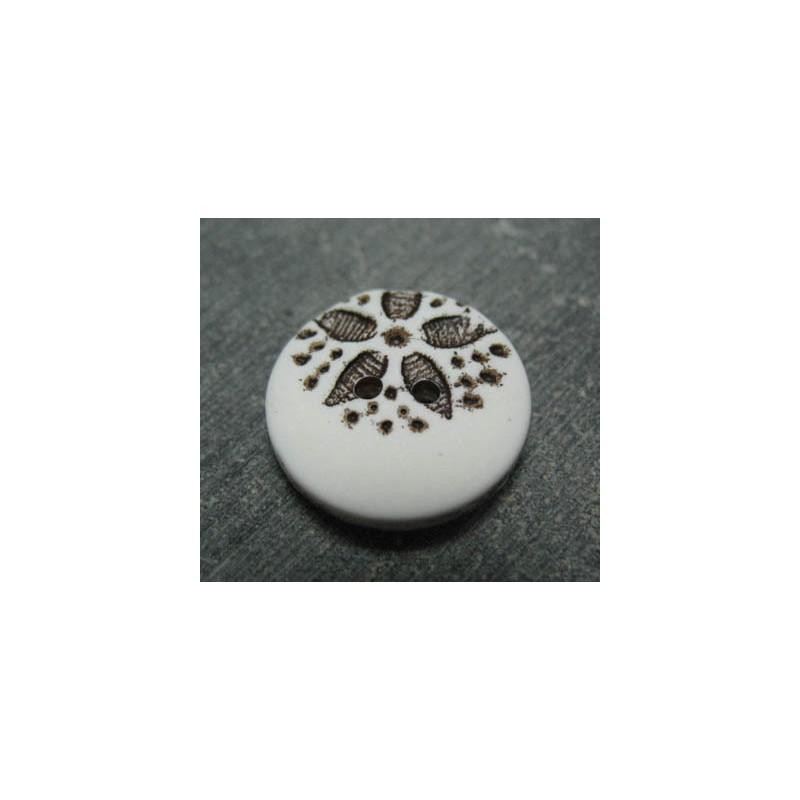 bouton fleur point blanc noir 20mm auchtibouton. Black Bedroom Furniture Sets. Home Design Ideas