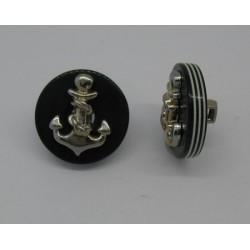 Bouton ancre résine relief marine très foncé 18mm