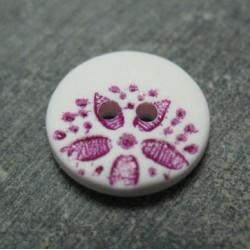Bouton fleur point blanc violet 15mm