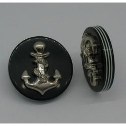 Bouton ancre résine relief marine fonçé 23mm