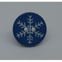 Bouton flocon neige bleu roi 15mm