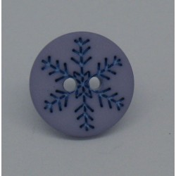 Bouton flocon neige violine 15mm