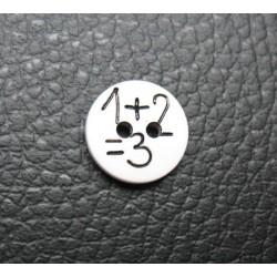 Bouton 1 plus 2 égal 3 blanc 13mm