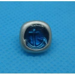 "Bouton ancre ""effet loupe"" bleu 11mm"