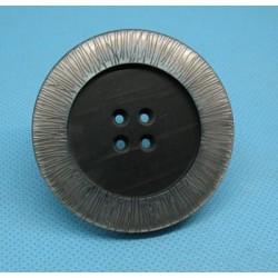 Bouton imitation nacre gris strié 52mm