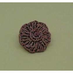 Bouton fleur émaillée prune 15mm