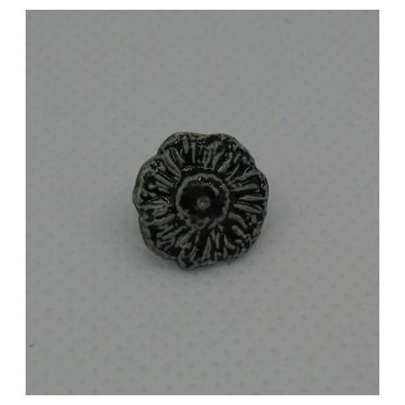 Bouton fleur émaillée noir 12mm