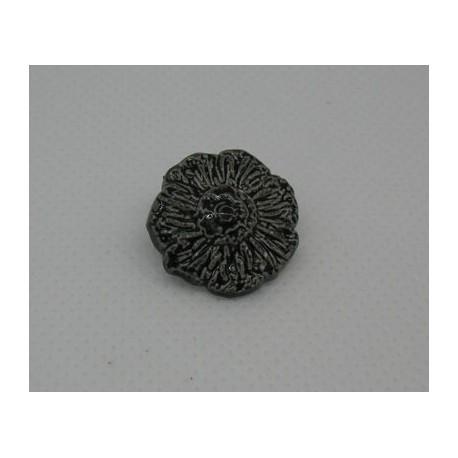 Bouton fleur émaillée noir 18mm