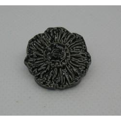 Bouton fleur émaillée noir 22mm