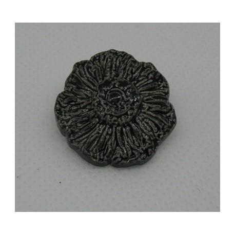 Bouton fleur émaillée noir 25mm