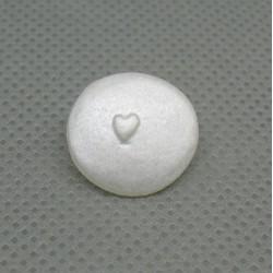 Bouton coeur nacré blanc 15mm