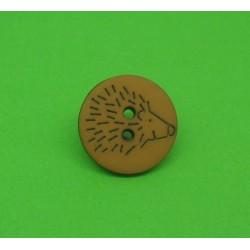 Bouton hérisson marron clair  15mm