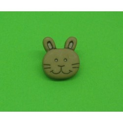 Bouton lapin marron  14mm