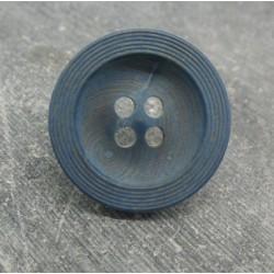 Bouton buis strié bleu raf 25mm