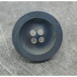 Bouton buis strié bleu raf 31mm