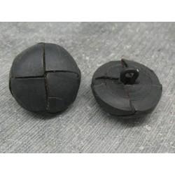 Bouton cuir bombé noir mat 21mm