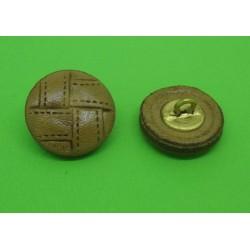 Bouton cuir semi bombé marron clair 22mm