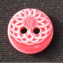 Bouton ellipse émaillé rouge 13mm