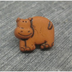 Bouton hippopotame ocre 14mm