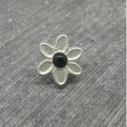 Bouton fleur 6 pétales gris noir 12mm