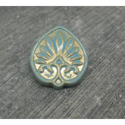 Bouton fleur antique bleu 21mm