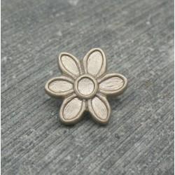 Bouton fleur 6 pétales gris moyen 15mm