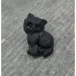 Bouton chat debout noir 17mm