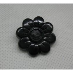 Bouton fleur 8 pétales noir brillant 25mm