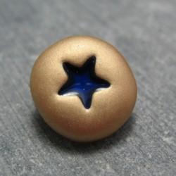 Bouton étoile or marine 15mm