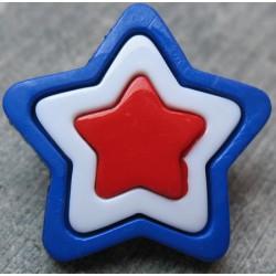 Bouton étoile bleu blanc rouge 23mm