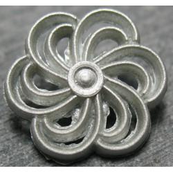 Bouton fleur hélice grise 14mm