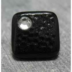 Bouton carré strass noir 13mm