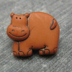 Bouton hippopotame ocre 17mm