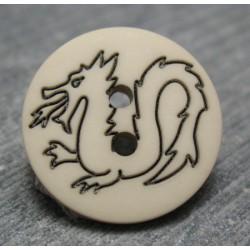 Bouton dragon écru 18mm