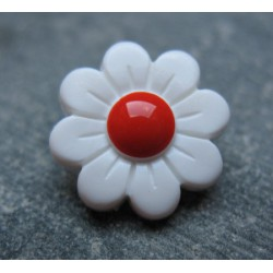 Bouton marguerite point rouge 15mm