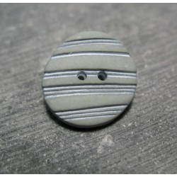 Bouton strie bambou gris amande 22mm