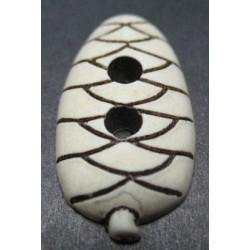 Bouton pomme de pin écru 31mm