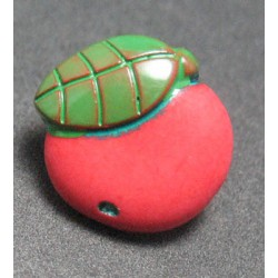 Bouton pomme rouge vert 12mm