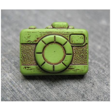 Bouton appareil photo vert noir 16mm
