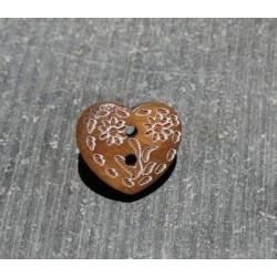 Bouton coeur gravé fleur blanche 13mm