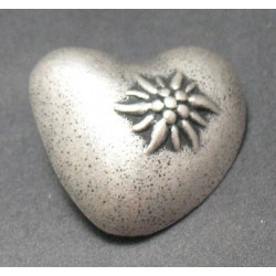 Bouton coeur edelweiss 25 mm