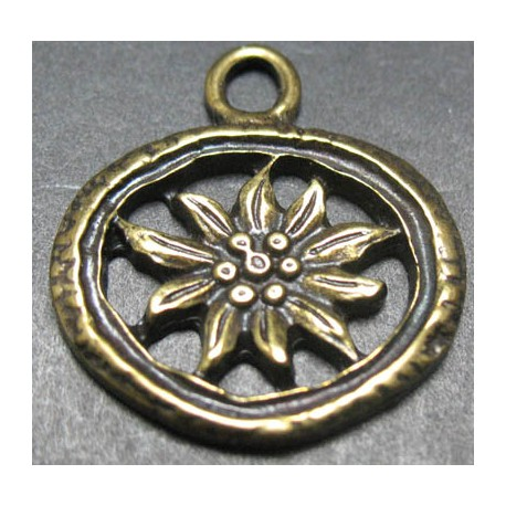 Charms  edelweiss vieux bronze 22 mm