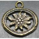 Charms  edelweiss vieux bronze 22 mm