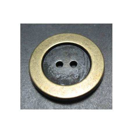 Bouton vieil or fond noir 22 mm b1