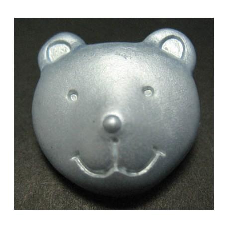 Bouton ours bleu nacré 25 mm b46
