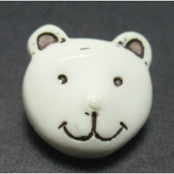 Bouton ours blanc ivoire 15 mm b46